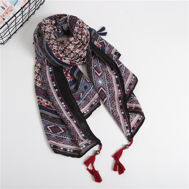 Large Size Square Scarf Summer Twill Cotton National Style Small Bead Scarf  Sunscreen Reversible Shawl For Lady
