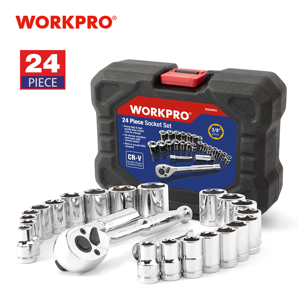 "WORKPRO 24PC Verktygssats momentnyckeluttagssats 3/8 ""Ratchet Wrench Socket Skruvnyckel"