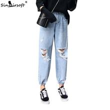 Women Casual Loose Wide Leg Pants Female High Waist Hole Ankle-length Jean Pants Womens Chic Hip Hop Blue Pant Summer New 2019 мотокоса champion т433s 2 неразъемн прям 1 25квт 1 7лс 42 7см u образная 8кг