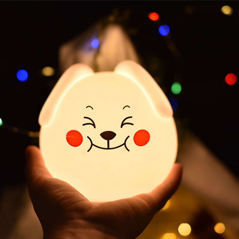 Silicone Night Light Touch Sensor Control USB Powered LED Cute Dog Lamp For Children Baby Kids Bedside Bedroom Gift Nightlights