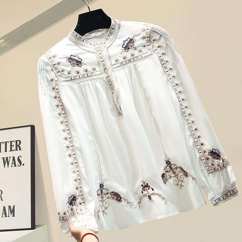 Embroidered Chiffon Blouse Women Retro Embroidery Shirt Female Lady Loose Shirts Tops White Shirt Blusa Feminina Bluzki Damskie
