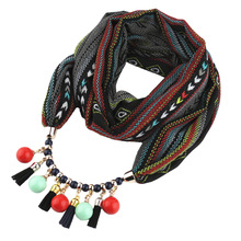 Fashion printed chiffon round scarf acrylic beads Korea velvet necklace pendant ladies jewelry