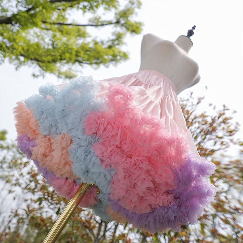 Tulle Petticoat Tutu-Skirt Rainbow Cosplay Lolita Princess Short Ballet-Dance Cloud Crino