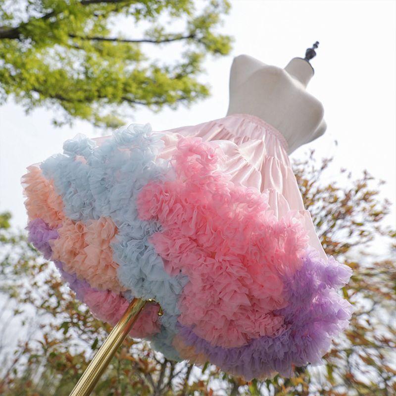 Womens Elastic Waist Puffy Tulle Petticoat Rainbow Cloud Short Tutu Skirt Princess Ballet Dance Pettiskirts Lolita Cosplay Crino