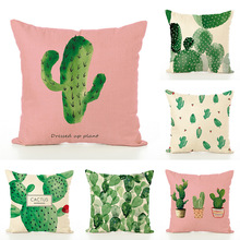 Hot Style Tropic Botany Cactus Cute Cushion Cover 45x45 Printing Flax Pillow Case Home Decorative