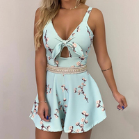 Floral Print Thin Strap Knotted Detail Romper Womens Jumpsuit Front Bow Tie A Line Summer Jumpsuit Women 2019 Sexy Club Overalls