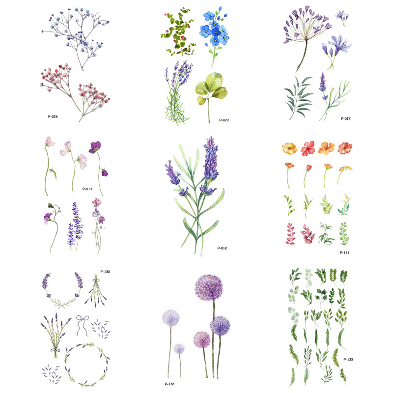 5-9 PCS/lot Flower Fake Tattoo Plant Temporary Tattoo Stickers For Men Women Body Art Blossom Tatoo Vine Tattoos Paper P