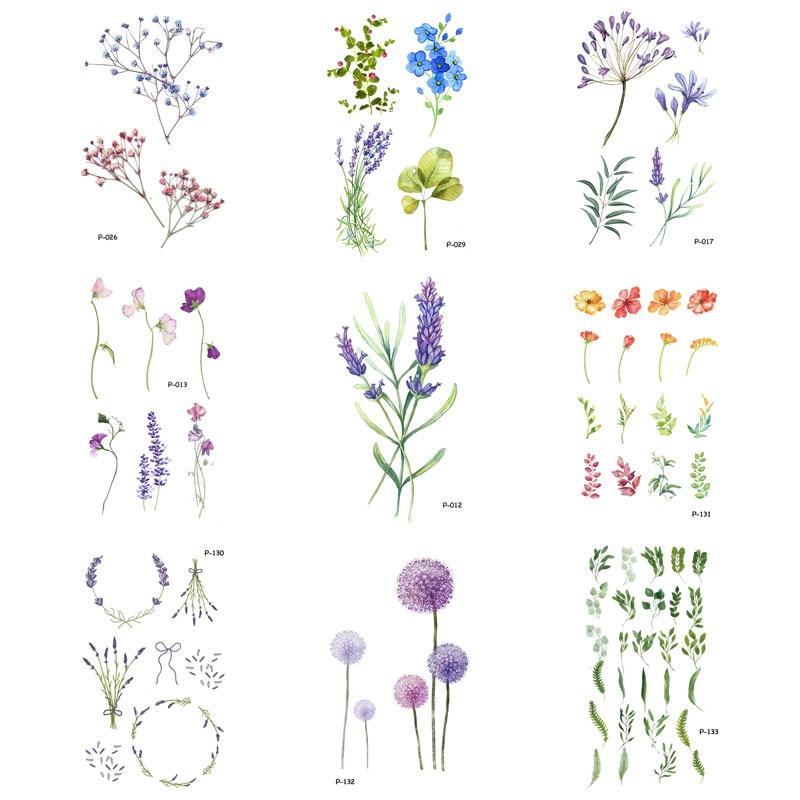 5-9 PCS/lot Flower Fake Tattoo Plant Temporary Tattoo Stickers For Men Women Body Art Blossom Tatoo Vine Tattoos Paper P
