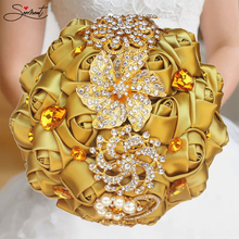 Golden Rhinestones Holding Flowers Wedding Luxury Gold Diamonds New Rhinestone Bouquet Accessories