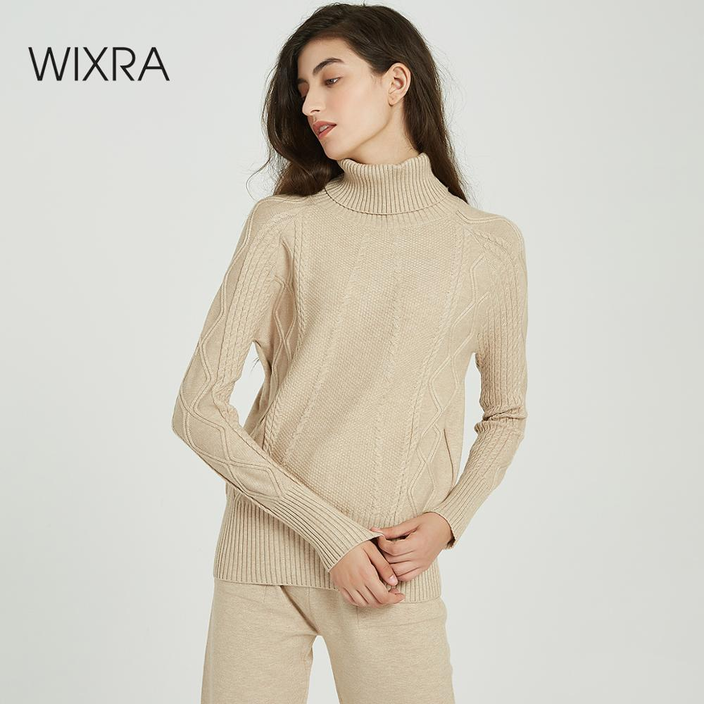 Wixra Women Sweater Suits And Set Casual Turtleneck Sweaters Pants 2PCS Track Suits Women Jumpers+Knit Trousers Clothing Sets