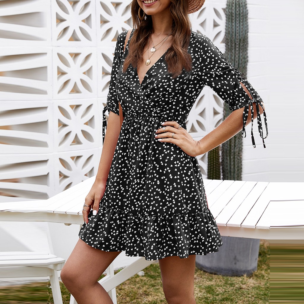 vestido de mujer Fashion Summer Women Sexy V Neck Printing Ladies Beach Casual Floral Dress femme