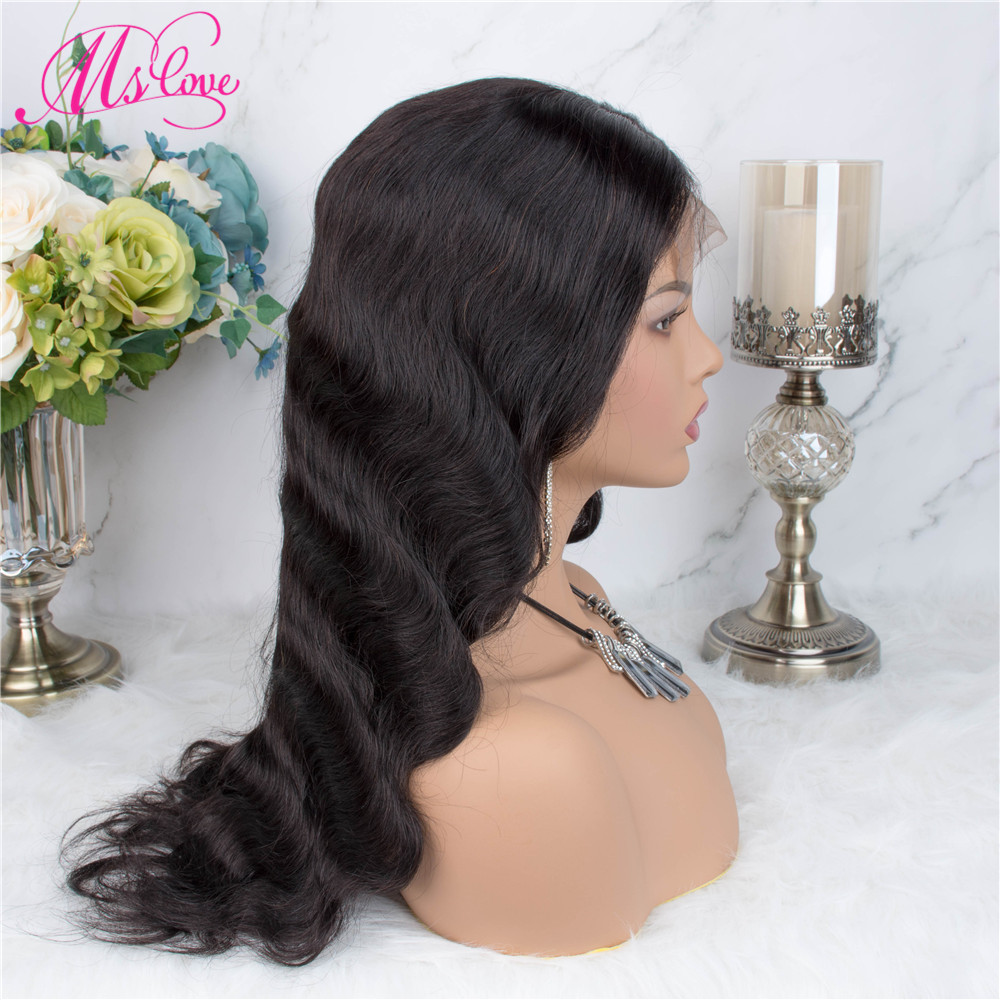 H8157fc49200447229ae3c07aa527039eU Ms Love 4X4 Lace Closure Human Hair Wigs Body Wave Brazilian Human Hair Wigs For Black Women Natural Color Non Remy Wig