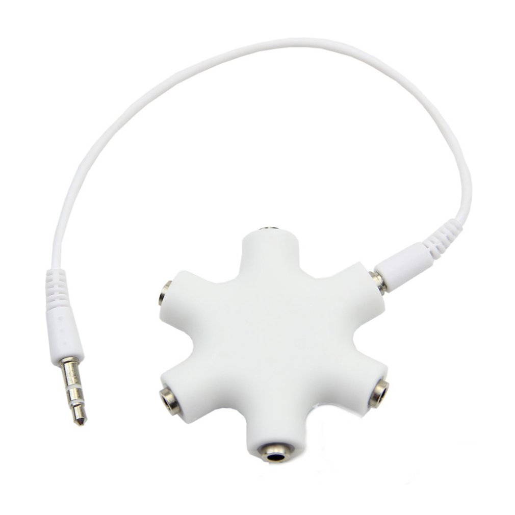 <font><b>3</b></font>.5mm Headphone Earphone Stereo Audio Splitter 1 Male to 2 <font><b>3</b></font> 4 <font><b>5</b></font> Male Ports Cable Cord Jack Headset 6 Hub Way Audio Adapter Line image