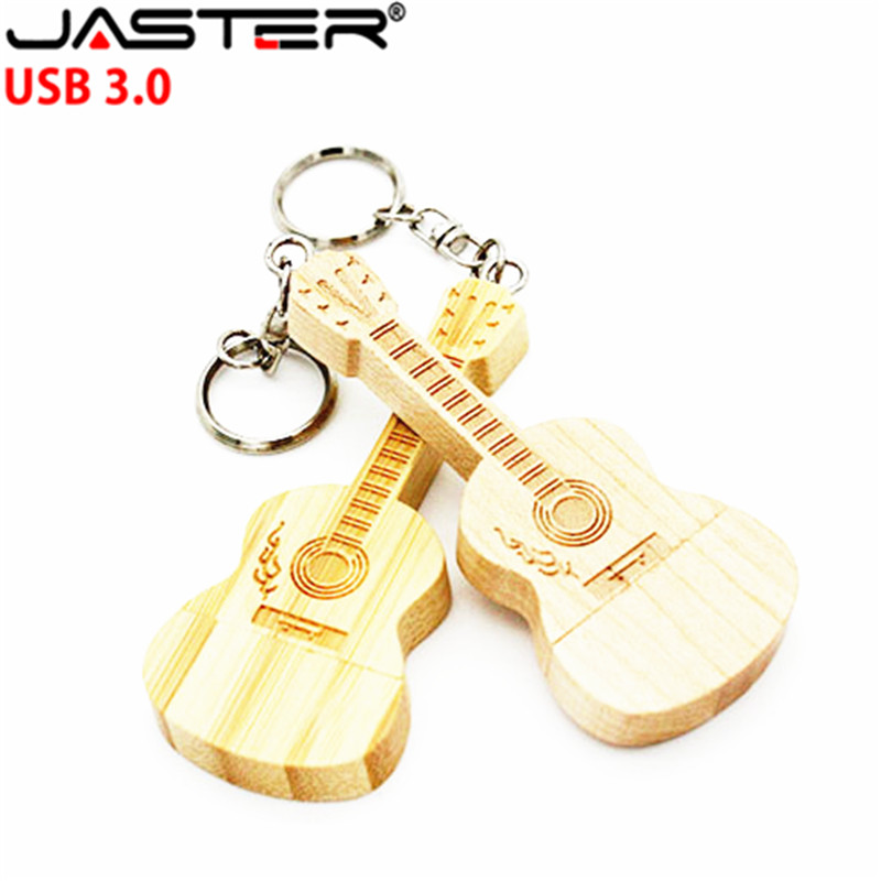 JASTER USB 3.0 Wooden Guitar Usb With Metal Keychain USB Flash Drive Pendrive 8GB 16GB 32GB 64GB Customer LOGO Wedding Gift