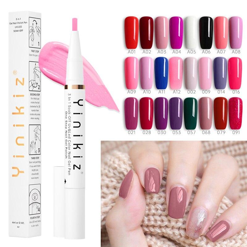 Yinikiz nuevo 3 en 1 Gel barniz uñas bolígrafo blanco un paso arte de uñas Gel esmalte híbrido fácil de usar Gel laca UV Envío Directo