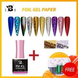 Bozlin UV Gel Nail Polish 15 ML Foil Gels For Colorful Transfer Varnish Metal Color With Free Foil Paper Stamper Manicure Tools