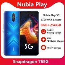 Nubia – téléphone portable Play 8 go 256 go 5G, écran 6.65 pouces AMOLED, 144Hz, Snapdragon 765G, double bande SA NSA, chargeur rapide 30W PD