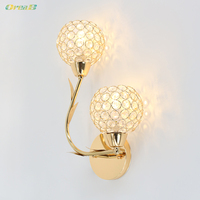 8w E12 Modern Bedroom Crystal Wall Light Sconces Lamps Double Side Golden Color for Indoor Decoration Oreab Design