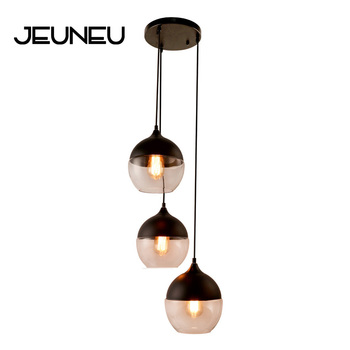 Modern Creative E27 LED Indoor Lighting Combination Hanging Lamps Bedroom Hall Living Room Loft Office Bar Glass Pendant Lights 1