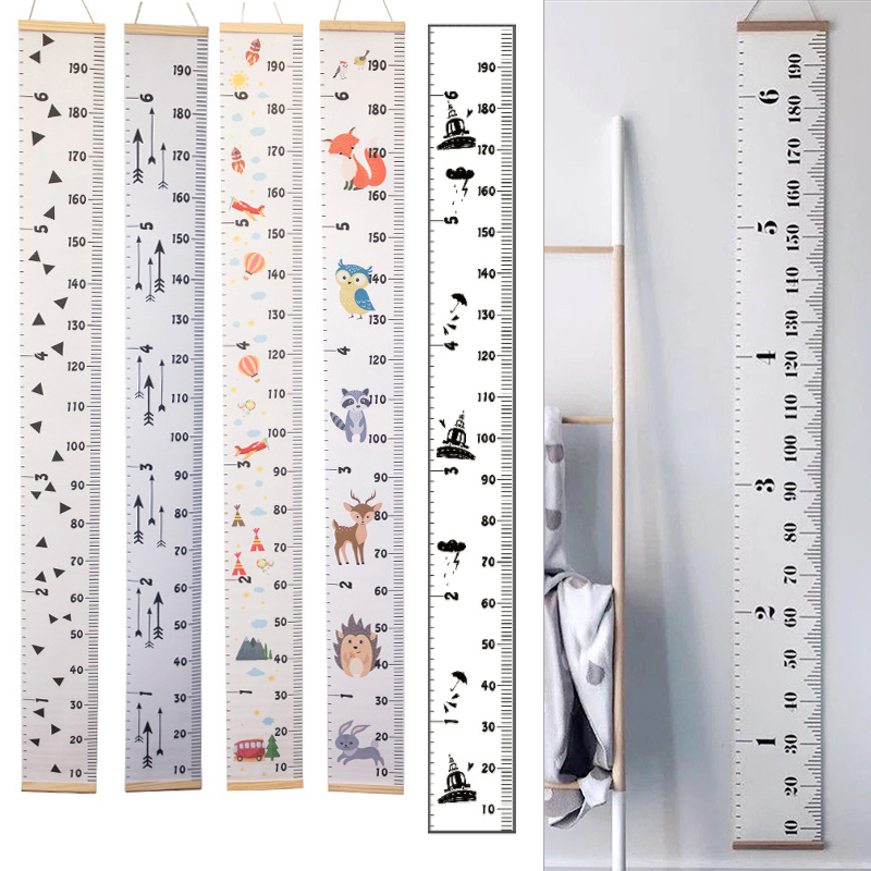 Hanging Canvas Height Kids Growth Chart Wall Decor Ruler With Wood Frame Children Height Record For Baby Measure