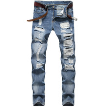 Holes Designer Men Jeans Straight Slim Mens Denim Pants Casual Long Mid Waist Light Blue Male