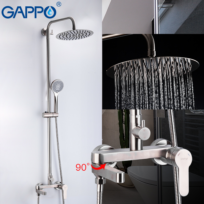 GAPPO 304 Stainless Steel Bathroom  Shower Set Faucetsset  Cold And Hot Water Anti-scalding Bathroom Mixers