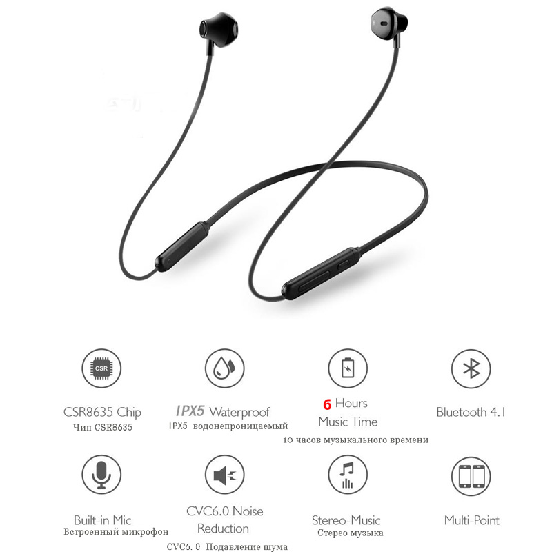 Bluetooth Earphone Wireless Bluetooth Earpiece Waterproof 3D Stereo Music Control Sport Wireless Headset+Mic For Huawei Samsung