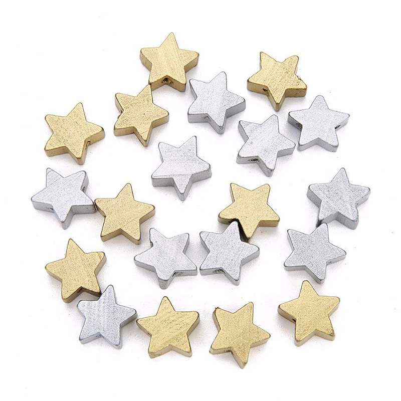 Gold/Silver 50pcs Wooden Star Spacer Beading Beads For Baby Bracelet Necklace DIY Crafts Wood Beads Set
