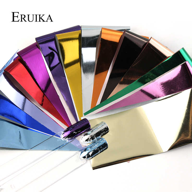 Eruika 14 Pcs Pesona Foil untuk Kuku Hologram Transfer Foil Wraps Stiker Decals Starry Kertas Manikur Decor Set Kuku Seni tips