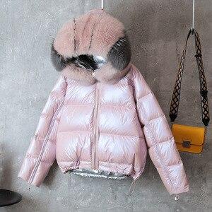 Image 1 - Vịt Trắng Xuống Áo Khoác Nữ Hai Mặt Mặc Quần Áo Thật Cáo Cổ Lông Áo Khoác Hoodie Nữ Xuống Cotton 2 Bên quần Áo Áo Khoác