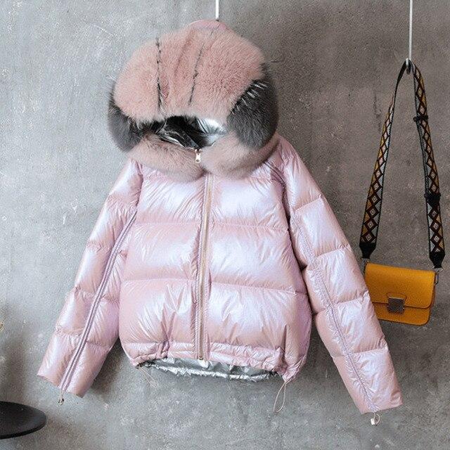 Vịt Trắng Xuống Áo Khoác Nữ Hai Mặt Mặc Quần Áo Thật Cáo Cổ Lông Áo Khoác Hoodie Nữ Xuống Cotton 2 Bên quần Áo Áo Khoác