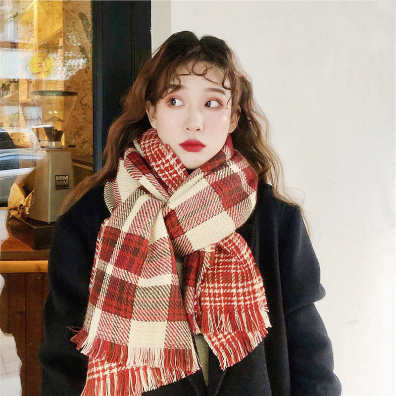 Women's scarf with double plaid pattern,Pashmina Fashionable warm shawls and scarves in autumn and winter