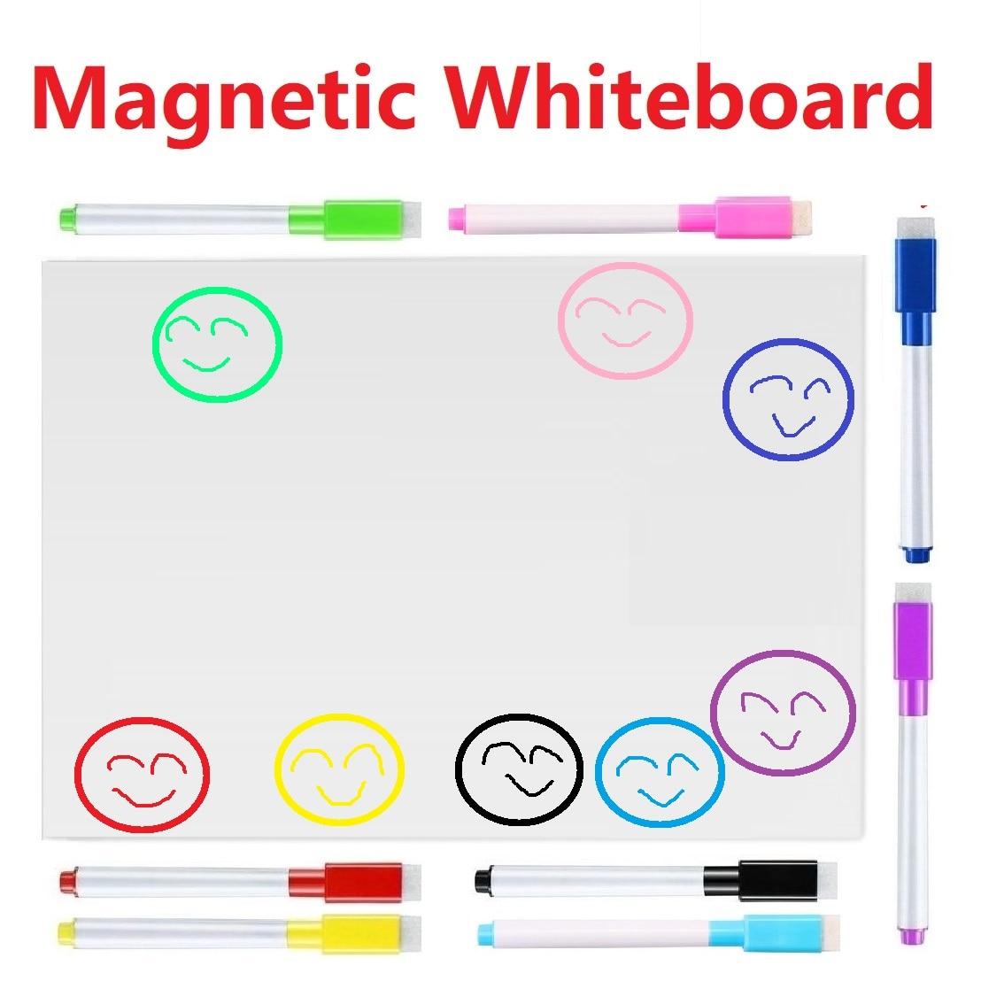 Magnetic White Board For Fridge Refrigerator Magnets White Board Markers Eraser Magnet Board Memo Boards Whiteboard For Kids