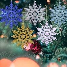 6 قطعة 10 سنتيمتر البلاستيك مسحوق الذهب بريق الفضة ندفة الثلج عيد الميلاد الحلي قلادة شجرة عيد ميلاد مزخرفة معلقة ندفة الثلج