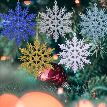 6pcs 10cm Plastic Gold Silver Glitter Powder Snowflake Xmas Ornaments Pendant Christmas Tree Decorative Hanging Snowflake upside down xams tree decorative hanging ornaments 24 inch artificial inverted christmas tree decorations y