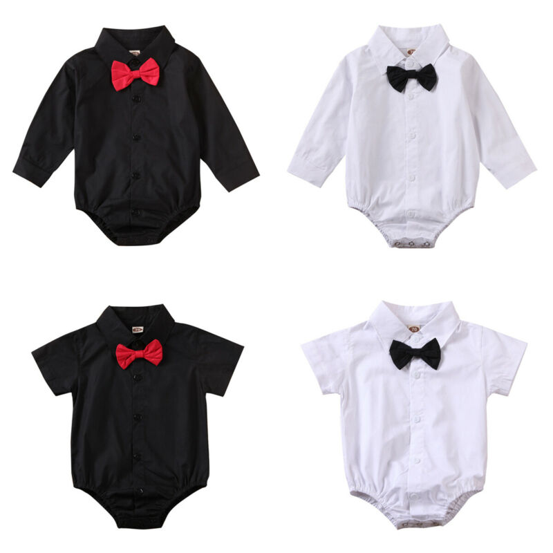 Infant Newborn Infant Baby Boys Bodysuit 2019 Gentleman Long Sleeve White Black Fall Bow Outfits Jumpsuit Clothing Clothes