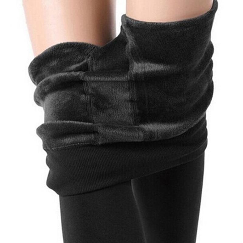 Winter Plush Velvet Winter Fleece Leggings Women High Waist Thicken Warm Ankle-Length Pants Female Elastic Plus Size Trousers