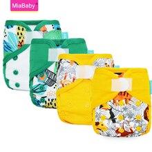 Miababy(4 unids/lote) pañales de tela para recién nacidos, cubierta de tela lavable ecológica para bebé, inserto de pañal, pañal reutilizable impermeable