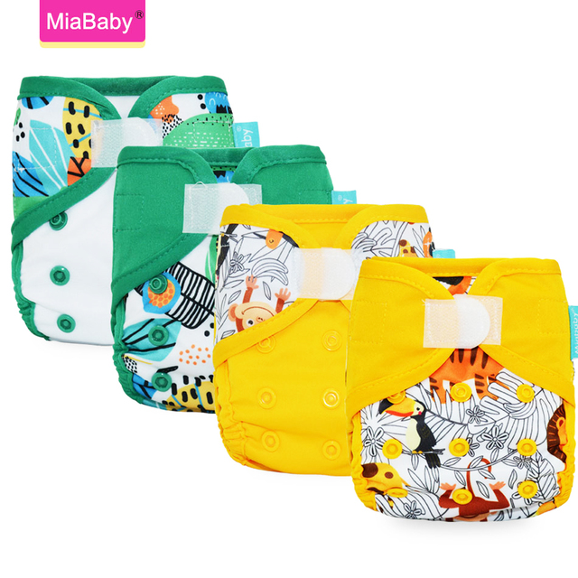 Miababy(4 шт./лот) тканевый чехол для подгузников для новорожденных экологичный моющийся тканевый чехол для подгузников водонепроницаемый многоразовый подгузник