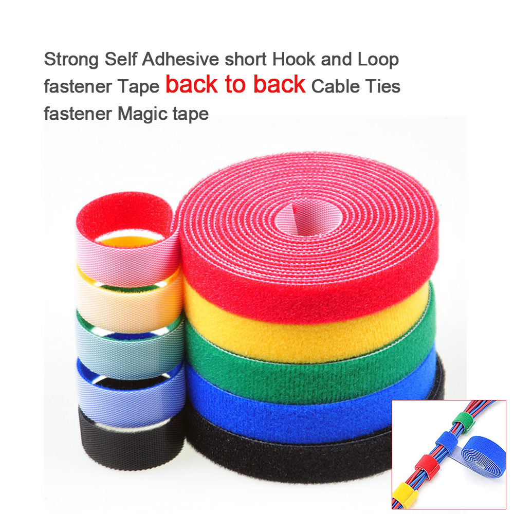 2Meter 20mm Strong Self Adhesive short Hook and Loop fastener Tape back to back Cable Ties fastener Magic tape DIY Accessories