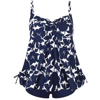 PERONA Sexy Tankini Set Women Plus Size Swimwear Two Piece Swimsuit Swirly Paisley Print Padded Bandage Bathing Suit Swimdress 15