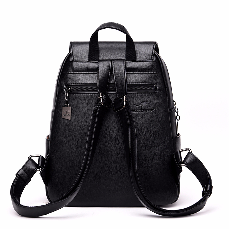 H8159169b2f1f4cde8c9c5c1d42ed20d8D - Women Leather Backpacks High Quality Sac A Dos Rucksacks For Girls Vintage Bagpack Solid Ladies Travel Back Pack School Female