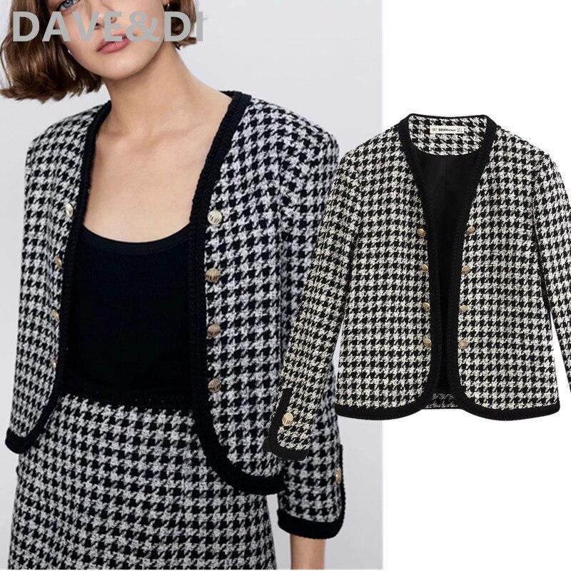 Dave&Di England Office Lady Double Breasted Houndstooth Blazer Feminino Blazer Women Blazer Mujer 2020 Women Blazers And Jackets