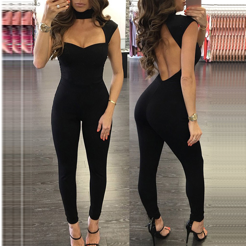 Women Jumpsuit Back Hollow Out Low-Cut Halter Rompers Sexy Club Wear Ladies Hot Grils Long Pant Trousers Black Skinny Jumpsuit