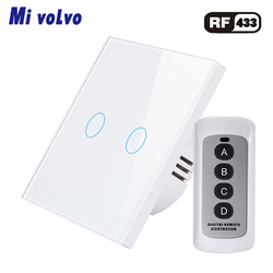 Mivolvo Touch switch RF433 wireless remote control tempered glass panel EU standard AC110V 240V light switch