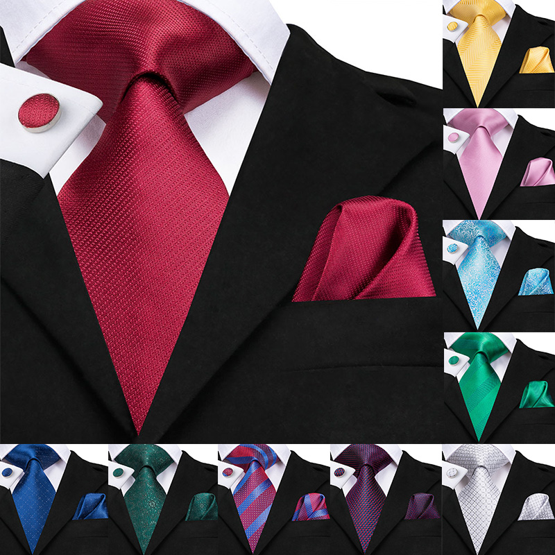 Hi-Tie Luxury 100% Silk Mens Ties Gold Floral Dark Red Necktie Handkerchief Cufflinks Set Fashion Men's Party Wedding Tie Set