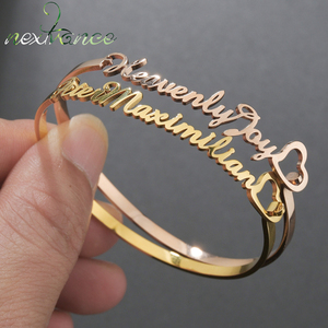 Nextvance Hand Decoration Customized Name Cuff Personalized Bracelets Bangles Women Gold Stainless Steel Mom Birth Jewelry Gifts