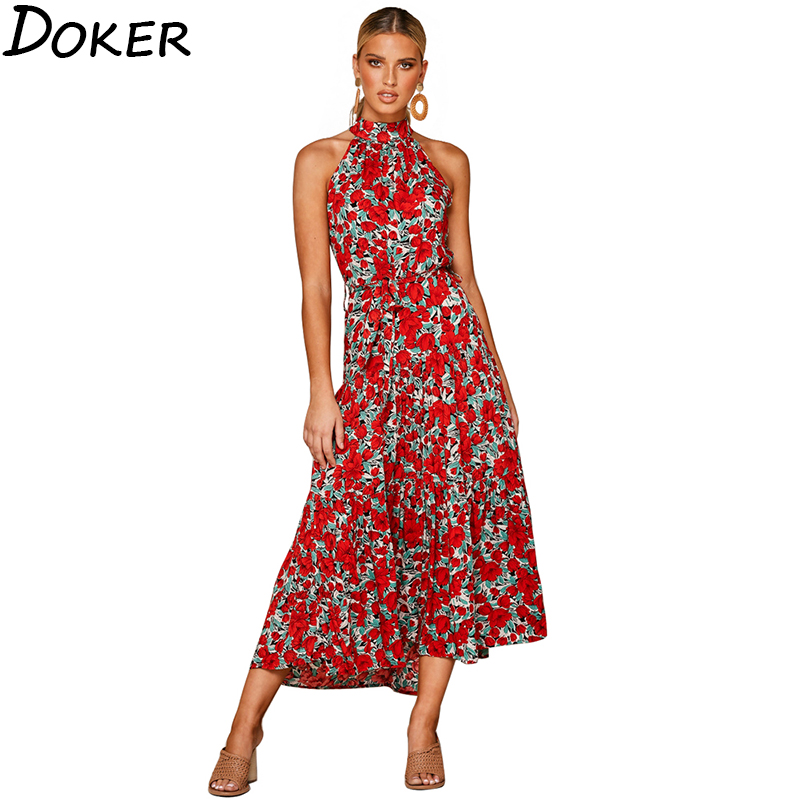 Women Casual Midi <font><b>Dress</b></font> 2020 New Summer Floral Print Belt <font><b>Beach</b></font> <font><b>Boho</b></font> Long <font><b>Dress</b></font> <font><b>Sexy</b></font> Sleeveless Party <font><b>Elegant</b></font> Ladies <font><b>Dresses</b></font> image