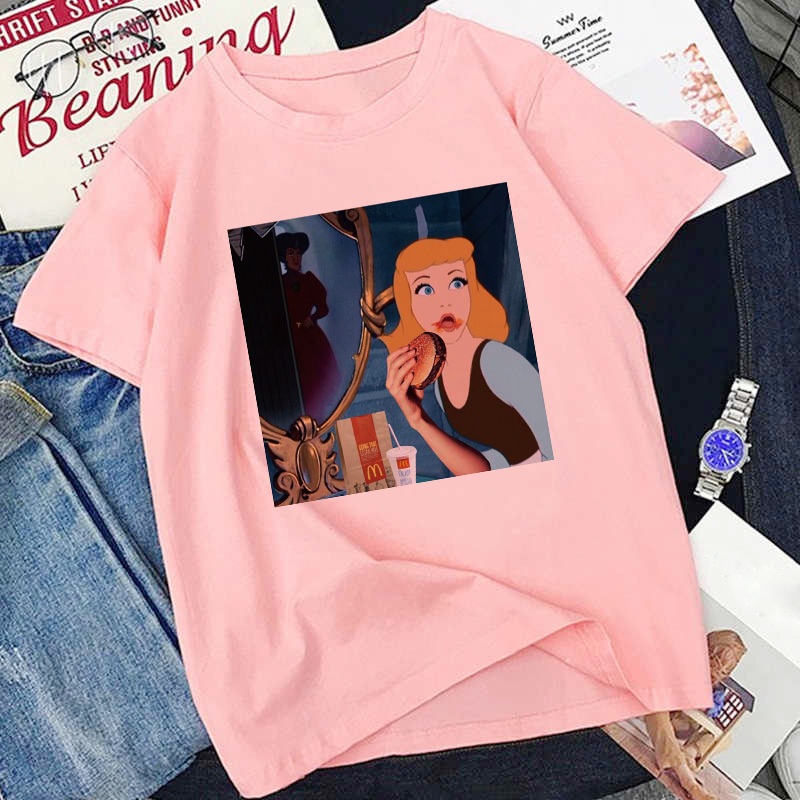Princess Eating Burger Summer Cartoon Print T Shirt Women Harajuku Punk Aesthetic T-shirt Vintage Casual Streetwear Tops Tshirt