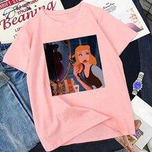 La Princesa comiendo Hamburguesa de dibujos animados de verano de impresión T camisa Harajuku Punk estética camiseta Vintage ropa de calle tops informales camiseta